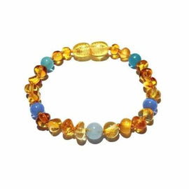 Child Paradise Blue Cats Eyes Aquamarine Gemstones Baltic Amber Anklet Bracelet Love Amber X