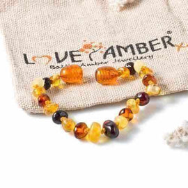 Child Pebble Beach Polished Mixed Baltic Amber Anklet Bracelet Love Amber X