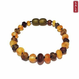 Child Pippin Raw Green Honey Baltic Amber Anklet Bracelet