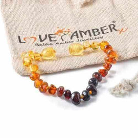 Child Rainbow Bright Mixed Baltic Amber Anklet Love Amber X