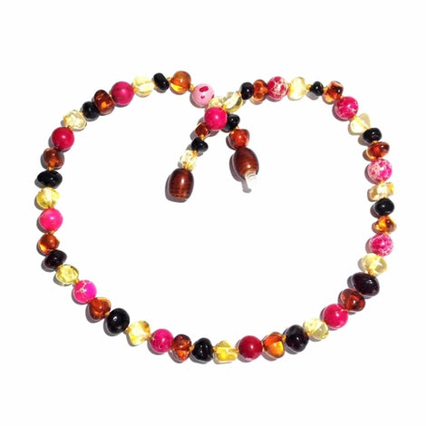 Child's Cherry Bomb Pink Jasper and Polished Rainbow Mixed Baltic Amber Necklace Jewellery / Necklaces / Beaded Necklaces Love Amber X