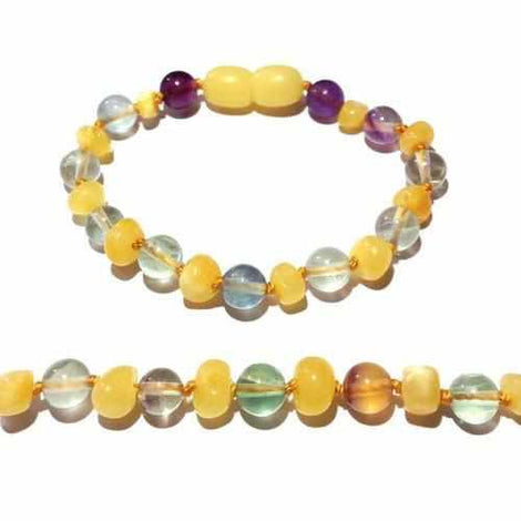 Child Salus Fluorite and Butterscotch Baltic Amber Anklet Bracelet Love Amber X