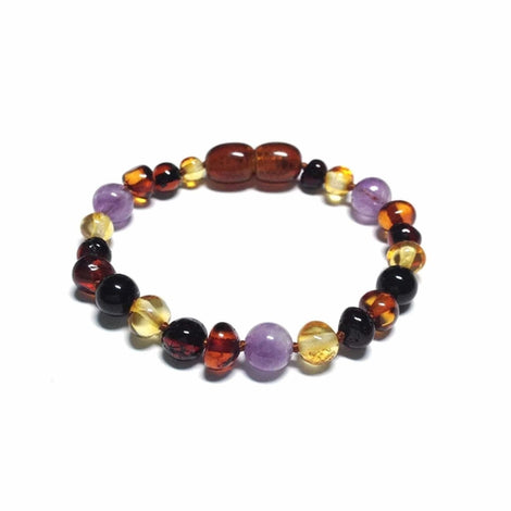 Child Shanti Amethyst Mixed Polished Baltic Amber Anklet Bracelet Jewellery / Body Jewellery / Anklets Love Amber X