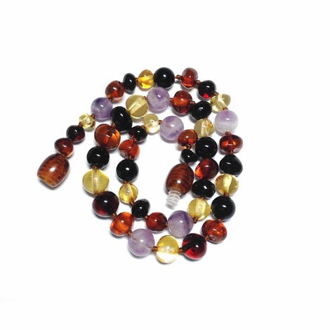 Child Shanti Shungite Amethyst Rainbow Mixed Baltic Amber Necklace Jewellery / Necklaces / Beaded Necklaces Love Amber X