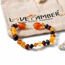 Child Shingle Raw Mixed Baltic Amber Anklet Love Amber X