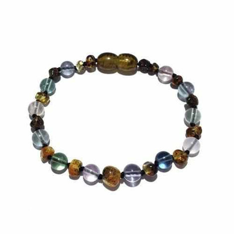 Child Sirona Fluorite and Green Baltic Amber Anklet Love Amber X