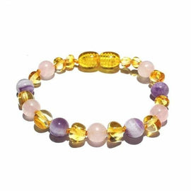 Child Tara Amethyst Purple Rose Quartz Gemstones Baltic Amber Anklet Bracelet Love Amber X