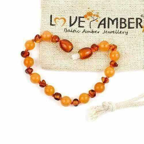 Child Toffee Apple Peach Aventurine and Polished Cognac Baltic Amber Anklet Bracelet Jewellery / Body Jewellery / Anklets Love Amber X