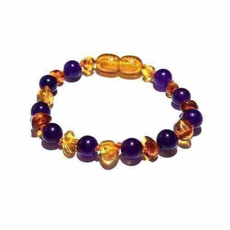 Child Violet Sparkle Honey Amethyst Baltic Amber Anklet Jewellery / Body Jewellery / Anklets Love Amber X