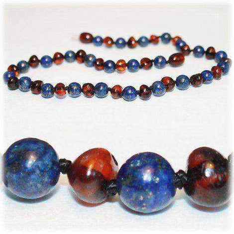 Child Wisdom Cherry Baltic Amber Blue Lapis Lazuli Necklace Jewellery / Necklaces / Beaded Necklaces Love Amber X