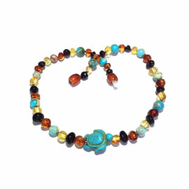 Childs Koopa Blue Turtle Jasper and Polished Rainbow Mixed Baltic Amber Necklace Jewellery / Necklaces / Beaded Necklaces Love Amber X