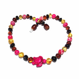 Childs Shelly Turtle Pink Jasper and Polished Rainbow Mixed Baltic Amber Necklace Jewellery / Necklaces / Beaded Necklaces Love Amber X