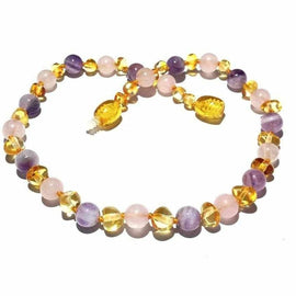 Childs Tara Honey Baltic Amber Amethyst Rose Quartz Gemstone Bead Necklace Jewellery / Necklaces / Beaded Necklaces Love Amber X