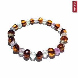 Adult Dark Brigid Cognac Baltic Amber Fluorite Stretch Bracelet Love Amber X