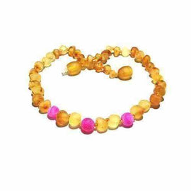 Girls Childs Nurture Raw Unpolished Honey Pink Dragon Agate Baltic Amber Necklace