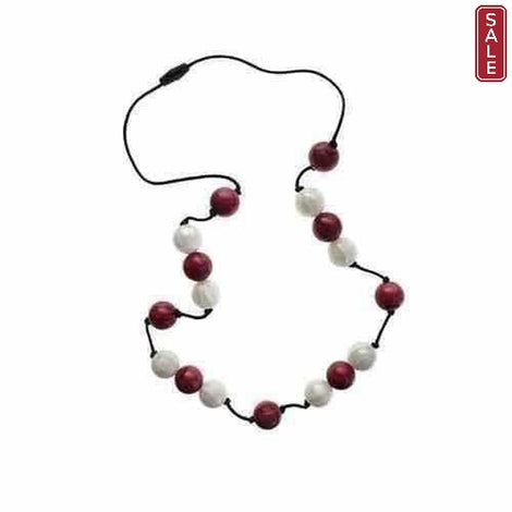 Gumigem Bubba Beads Chewable Teething Necklace Jewellery Cranberry Red White Gumigem