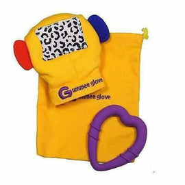 Gummee Glove Chewable Yellow Baby Teething Mitten Silicone Purple Heart Ring Gummee