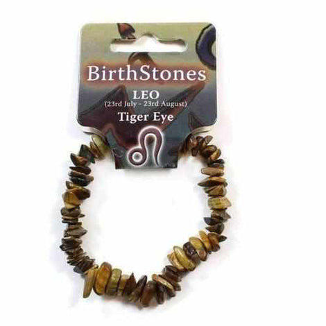 Leo Birthstone Adult Elasticated Chip Bracelet Gift - Tigers Eye Jewellery / Bracelets / Beaded Bracelets Love Amber X