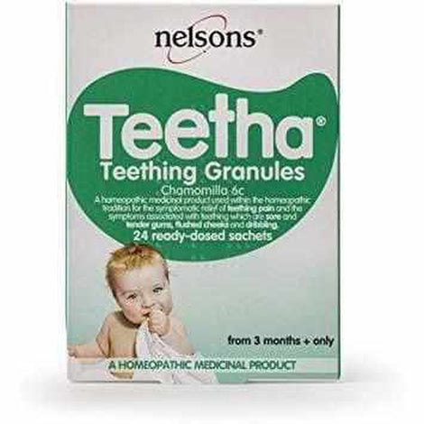 Nelsons Teetha Teething Granules, 24 Sachets Love Amber X Ltd Baltic Amber Jewellery and Silicone Teething Necklaces