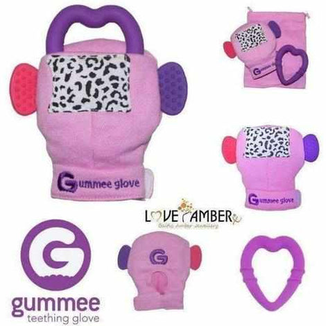 Pink Girls Gummee Glove Silicone Heart BABY Teething Ring Mitten Toy Gift UK Gummee