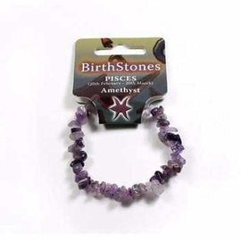 Pisces Birthstone Adult Elasticated Chip Bracelet Gift - Amethyst Jewellery / Bracelets / Beaded Bracelets Love Amber X
