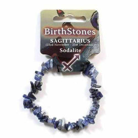 Sagittarius Birthstone Adult Elasticated Chip Bracelet Gift - Sodalite Jewellery / Bracelets / Beaded Bracelets Love Amber X