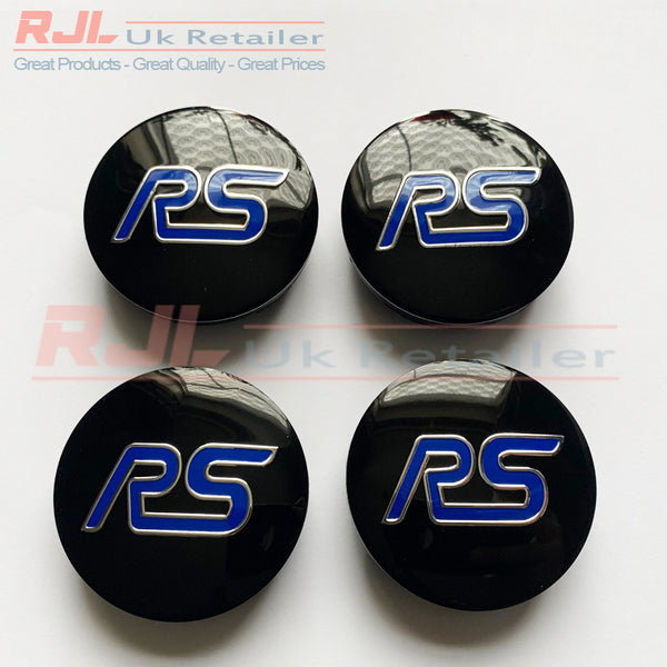 Set of 4 Ford Focus RS Alloy Wheel Centre Caps Black & Blue Design 54.5mm 2009-2019