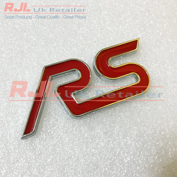 Large Metal Red Rs Boot Hatchback Adhesive Backed Badge For Mk1/2/3 2001-2016 - Rjl Retail Ltd