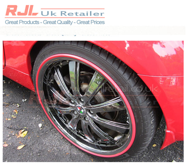 Alloy Wheel Red Coloured Plastic Adhesive Backed Rim Protection - Rjl Retail Ltd