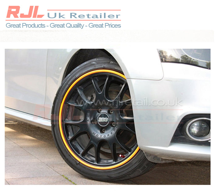 Alloy Wheel Yellow Coloured Plastic Adhesive Backed Rim Protection - Rjl Retail Ltd