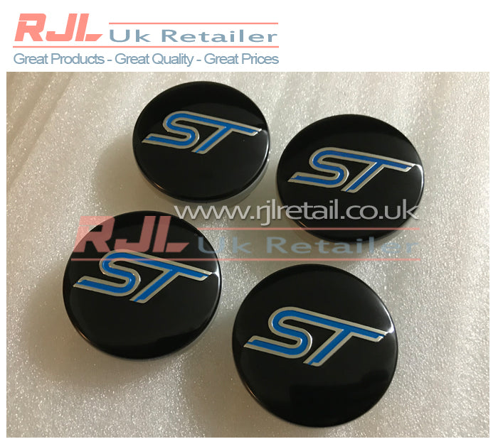 Set Of 4 54mm Ford Focus St Standard Size Alloy Wheel Centre Caps - Rjl Retail Ltd