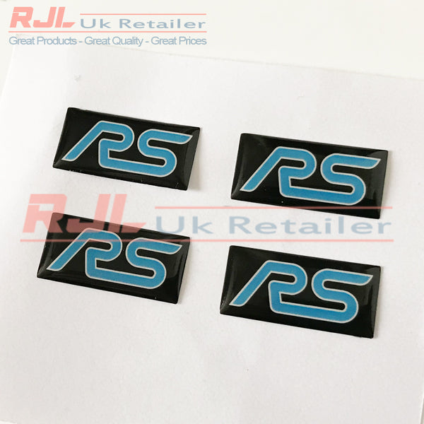 Ford Focus RS Mk2 2005-2008 Light Blue Rectangle Rs Gel Badge Sticker for Spoke Alloy Wheels - Rjl Retail Ltd