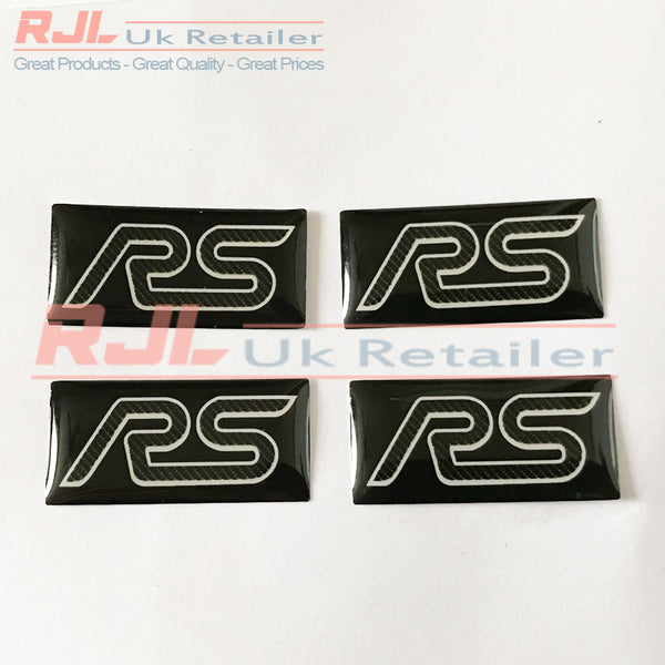 Ford Focus RS Mk2 2005-2008 Carbon Fibre Rectangle Rs Gel Badge Sticker for Spoke Alloy Wheels - Rjl Retail Ltd