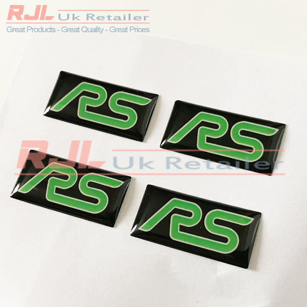 Ford Focus RS Mk2 2005-2008 Lime Green Rectangle Rs Gel Badge Sticker for Spoke Alloy Wheels - Rjl Retail Ltd