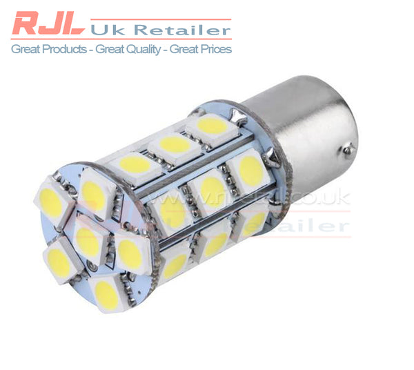 Set of 2 T25/S25 1156 BAY 15D White SMD LED Reverse Light Bulb 12V - Rjl Retail Ltd