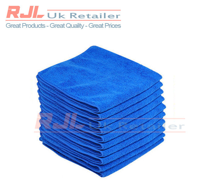 50g - 320gsm Lint Free Microfibre Car Cleaning Cloths 40cm x 40cm Size In Blue - 5 Pieces - Rjl Retail Ltd