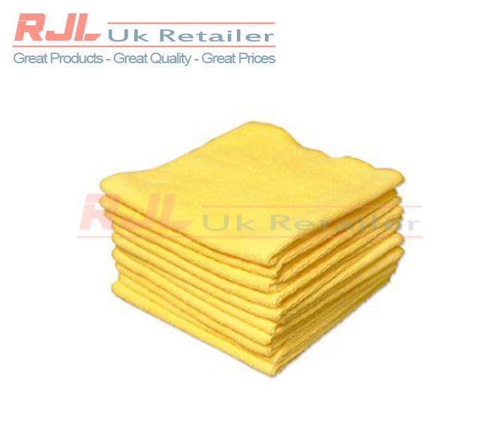50g - 320gsm Lint Free Microfibre Car Cleaning Cloths 40cm x 40cm Size In Yellow - 5 Pieces - Rjl Retail Ltd