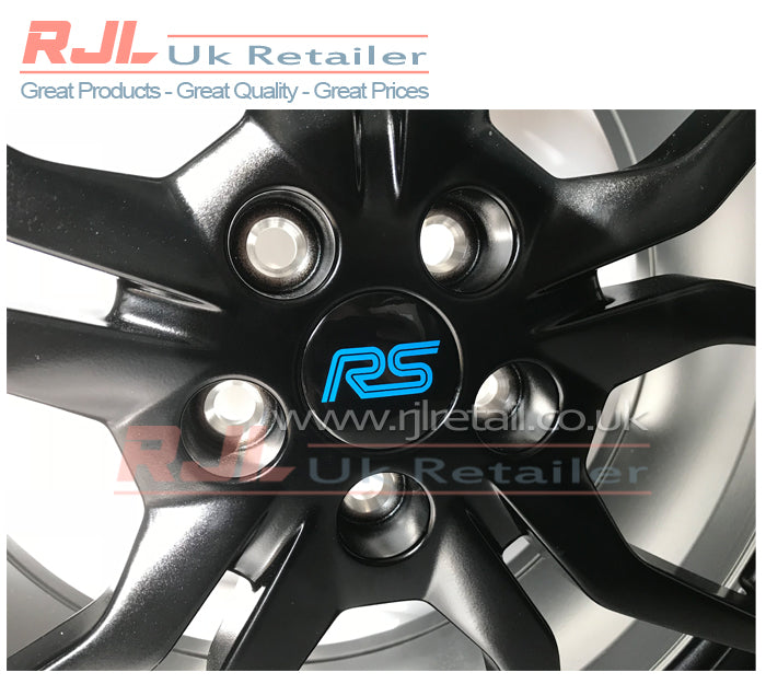 Ford Focus RS Mk 3 2016-2018 Alloy Wheel Centre Hub Caps Powder Blue Vinyl Decal - Rjl Retail Ltd