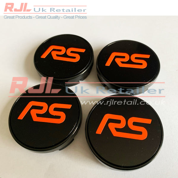 54.5mm BLOCK ST VINYL LOGO DECAL Gloss Bright Orange Ford Focus St Alloy Wheel Centre Hub Caps