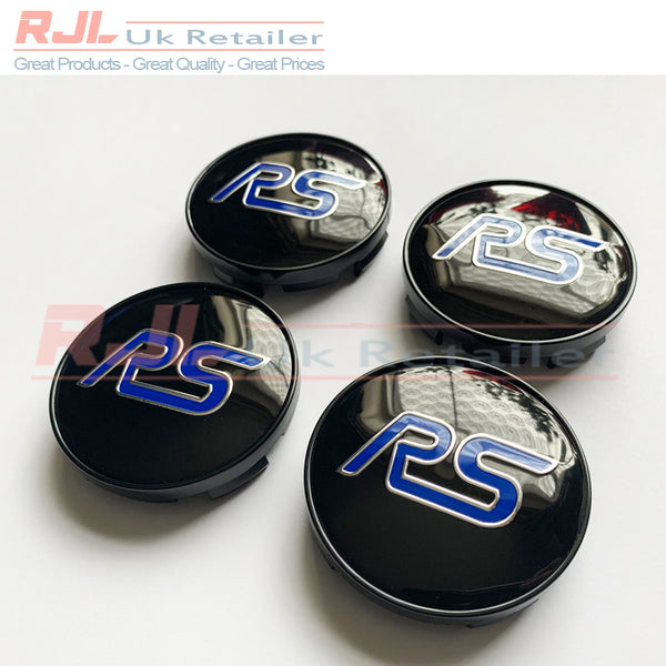 Set Of 4 Ford Focus RS Alloy Wheel Centre Hub Caps Blue & Black Design 60mm