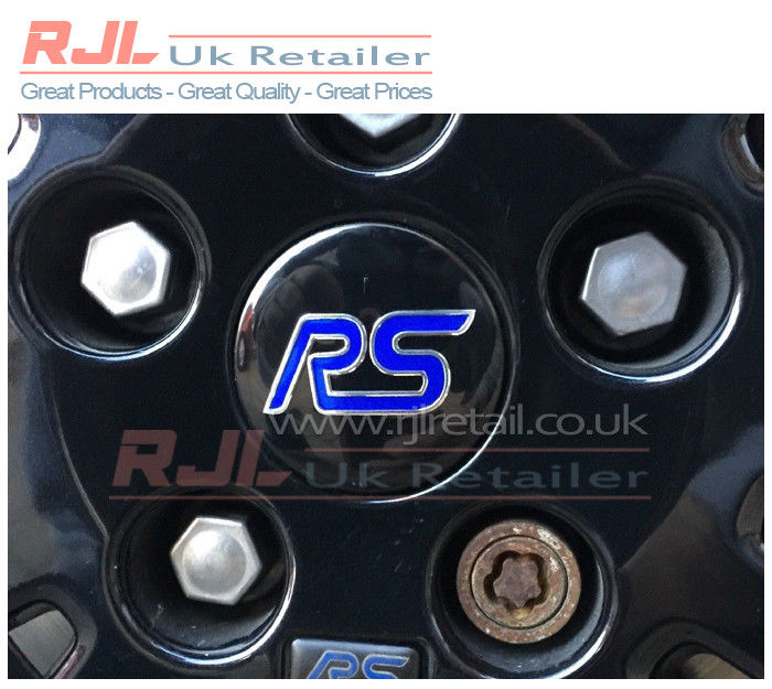 Set of 4 Ford Focus RS Alloy Wheel Centre Caps Black & Blue Design - Rjl Retail Ltd