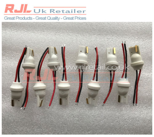 10 x T10 501 Car Plug-In Light Led Male Extension Socket Bulb Connectors - Rjl Retail Ltd
