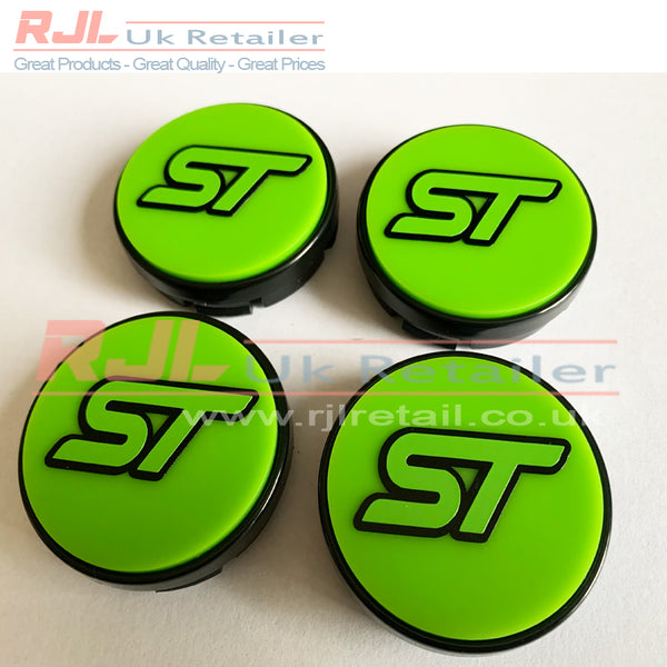 54.5mm BLOCK RS/ST VINYL LOGO DECAL Gloss Lime Green Base Ford Focus Rs/St Alloy Wheel Centre Hub Caps