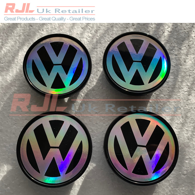 VW Golf HOLOGRAM VINYL Black Base Volkswagen Alloy Wheel Centre Hub Caps 65mm