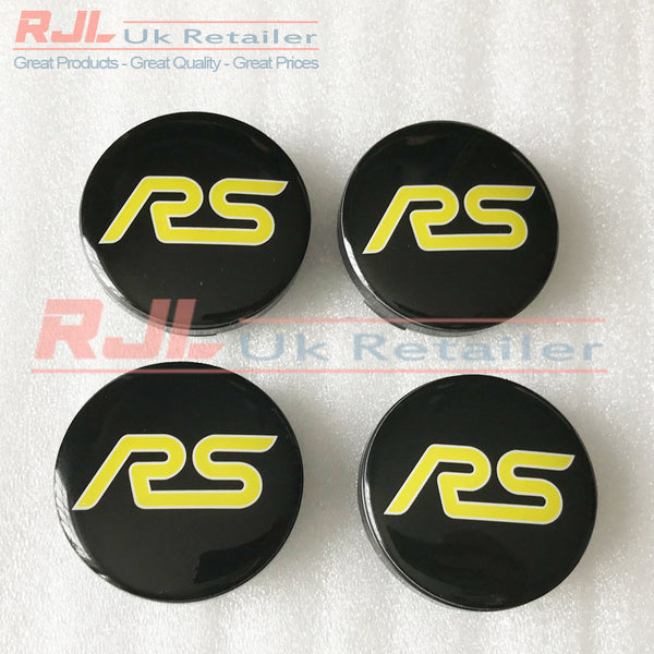 Ford Focus RS Mk2 2005-2008 Facelift Yellow Alloy Wheel Centre Hub Caps New Design - Rjl Retail Ltd