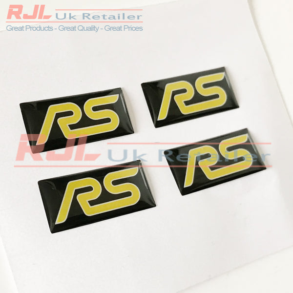 Ford Focus RS Mk2 2005-2008 Yellow Rectangle Rs Gel Badge Sticker for Spoke Alloy Wheels - Rjl Retail Ltd