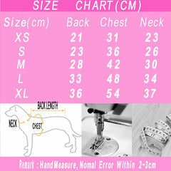 size chart for Grid Dog Shirt