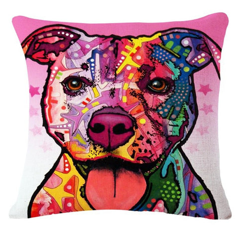 498A- Multicolor dog face pillow