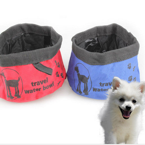 Red Blue Foldable Dog Bowl