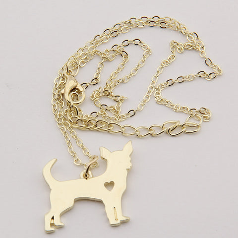 Chihuahua, open heart, necklace